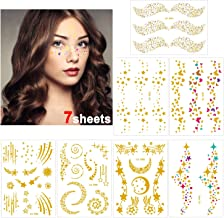 Konsait 7sheets Face Tattoo Sticker Metallic Temporary Transfer Tattoo Waterproof Face Jewel s for Women Girls Make Up Dancer Costume Parties, Shimmer Glitter Designs Gold Tattoos