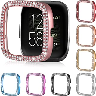 8 Pieces Compatible with Fitbit Versa 2 Case Double Bling Crystal Rhinestone Plated Cover Shiny for Women Watch Accessories