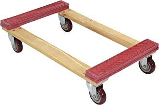 Vestil HDOR-1830-12 Rubber End Hardwood Dolly with Hard Rubber Casters, 1200 lbs Capacity, 30