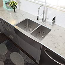 33 Farmhouse Sink Double Bowl - Lordear 33 inch Stainless Steel Kitchen Sink 16 Gauge Apron Front Double Bowl 60/40 Kitchen Farm Sink