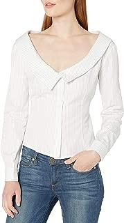 MILLY Women's Stripe and Cross Dye Shirting Jennie Top