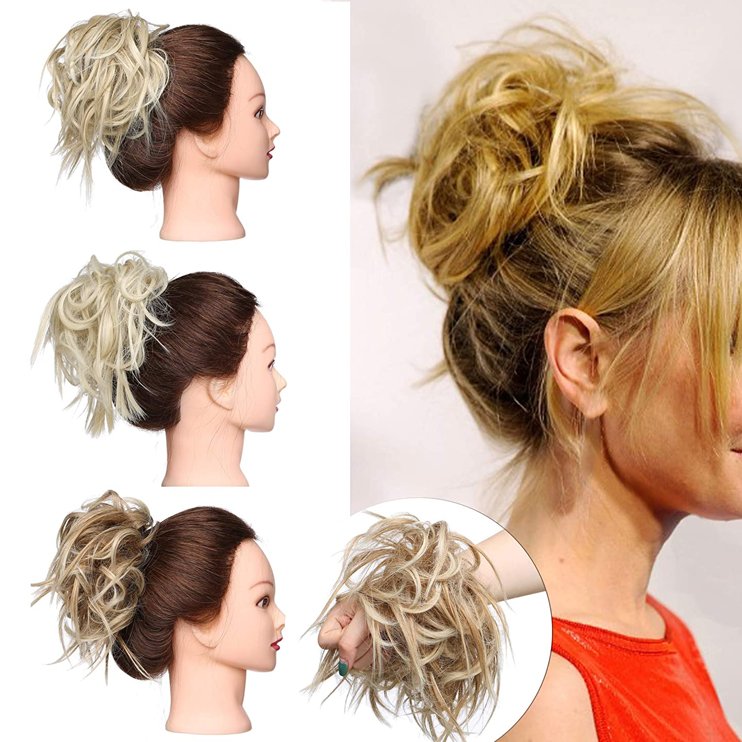 Tousled Updo Messy Bun Hair Piece Scrunchies Synthetic Wavy Bun Extensions Rubber Band Elastic Scrunchie Chignon Instant Ponytail Hairpiece for Women #27T613 Sandy Brown & Bleach Blonde