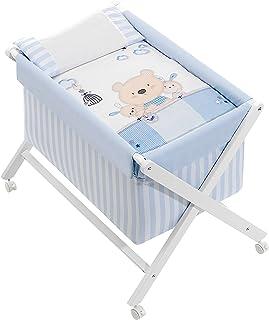 Minicuna mibebestore Plegable Blanco/Azul Osito: Estructura + Vestidura + Colcha Desenfuntable + Colchón + Almohada