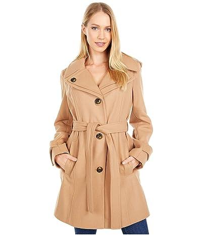 London Fog Button Front Tie Waist Wool Coat (Camel) Women