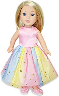 Eledoll Rainbow Tutu Dress and Shoes Matching Set Clothes for 14 inch 14.5 inch Doll