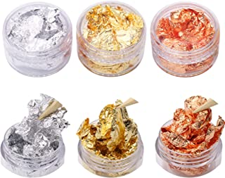 3 Pots Gold, Silver, Copper Nails Decorative Flakes - Imitation Gold Flakes Stickers for DIY Nail Art
