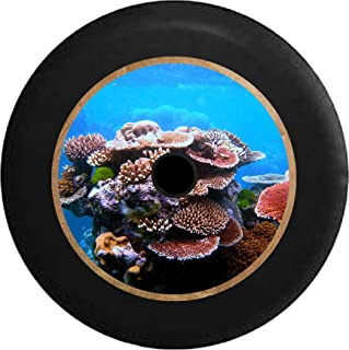 Pike Outdoors JL Series Spare Tire Cover Backup Camera Hole Coral Reef Living Ocean Art Sea Life Black 32 in
