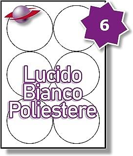 LP12//63 GWP. Label Planet/® Etichette in Poliestere Bianco Lucido A4 per la Stampa Laser 63.5 x 72mm 12 Par Foglio 600 Etichette 50 Fogli