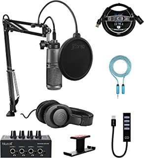 Audio-Technica AT2020USB+PK Streaming/Podcasting Pack Bundle with Blucoil Headphone Amp, 6' 3.5mm Extension Cable, Pop Fil...