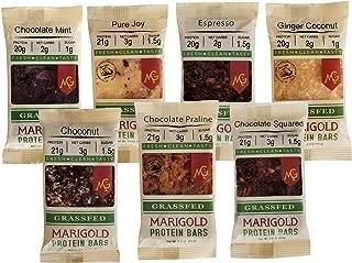 Keto (2-3 NET CARB) Protein Bar by MariGold - Amazing Taste Ketogenic Snacks - Organic Fats, 1 g Sugar, 21 g Protein GRASS FED Whey - Non GMO. Made Fresh, Ships Fresh. (12 bars)