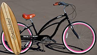 Fito Anti Rust Light Weight Aluminum Alloy Frame, Marina Alloy 7-Speed for Women - Black/Pink, 26