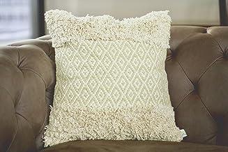 satTva Throw Pillow Cushion Cover 𝙷𝚊𝚗𝚍𝚖𝚊𝚍𝚎 45x45 - BOHO Decor Cream Textured Cushions Covers for Living Room Sofa ...