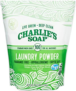 Charlie's Soap Laundry Powder (100 Loads, 1 Pack) Fragrance Free Hypoallergenic Deep Cleaning Laundry Powder – Biodegradab...