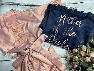 Women's Satin Kimono Robe for Bridesmaid and Bride Wedding Party Getting Ready Short Robe