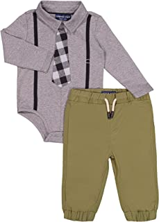 Andy & Evan Baby Boys' Long Sleeve Formal Shirtize + Pant Set, Suspenders, Suit Vest & Tie - Snap Bottom Closure