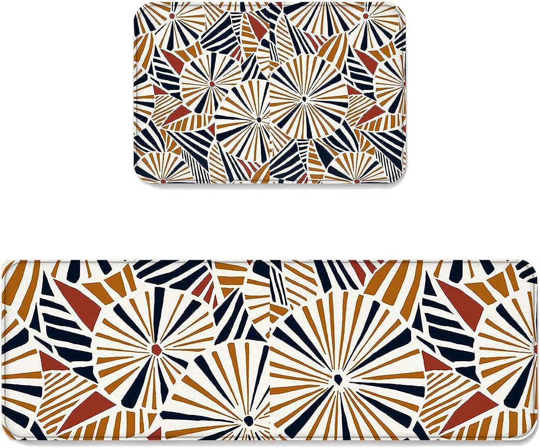 2 pcs Kitchen Mat Doormat Runner Rug Set, Kids Area Rug Bedroom Rug Non-Slip Rubber Backing Door Mats Classic Retro Royal Vintage European Umbrella Artwork 19.7'' x 31.5'' + 19.7'' x 63''