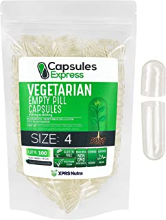 XPRS Nutra Size 4 Empty Capsules - Clear Empty Vegan Capsules - Capsules Express Vegetarian Empty Pill Capsules- DIY Veget...