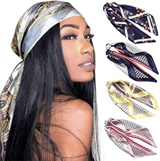 HAIMEIKANG Silk Square Scarves for Women - 4 PCs Women Satin Silk Head Scarf Scarves Set Bandanas Hair Scarf Neck Scarf