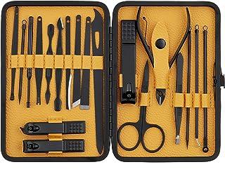 Beauté Secrets Manicure Kit, pedicure tools for feet, Nail Cutters, Manicure Pedicure kit for women and Men, 19 Pieces, Black