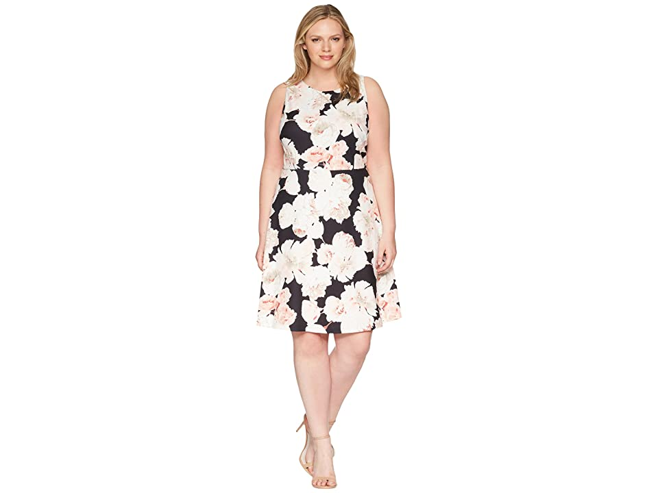 Adrianna Papell Plus Size Fitted A-Line Sleeveless (Pink/Black Multi) Women