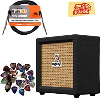 Orange Crush Mini Guitar Combo Amplifier - Black Bundle with Instrument Cable, Pick Sampler, and Austin Bazaar Polishing Cloth