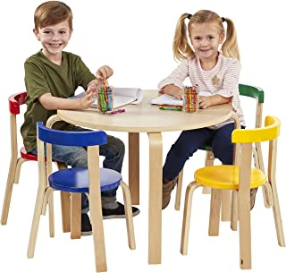 ECR4Kids Bentwood Curved Back Table and Chair Set,Premium Kids Wooden Furniture for Homes, Daycares and Classrooms, Assorted