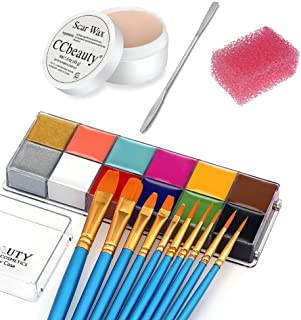 CCbeauty 12 Color Face Paint (5.64Oz),Stage Special Effects Kit Wound Scar Wax (1.6Oz) + Spatula + 10 Brushes + 1 Stipple ...