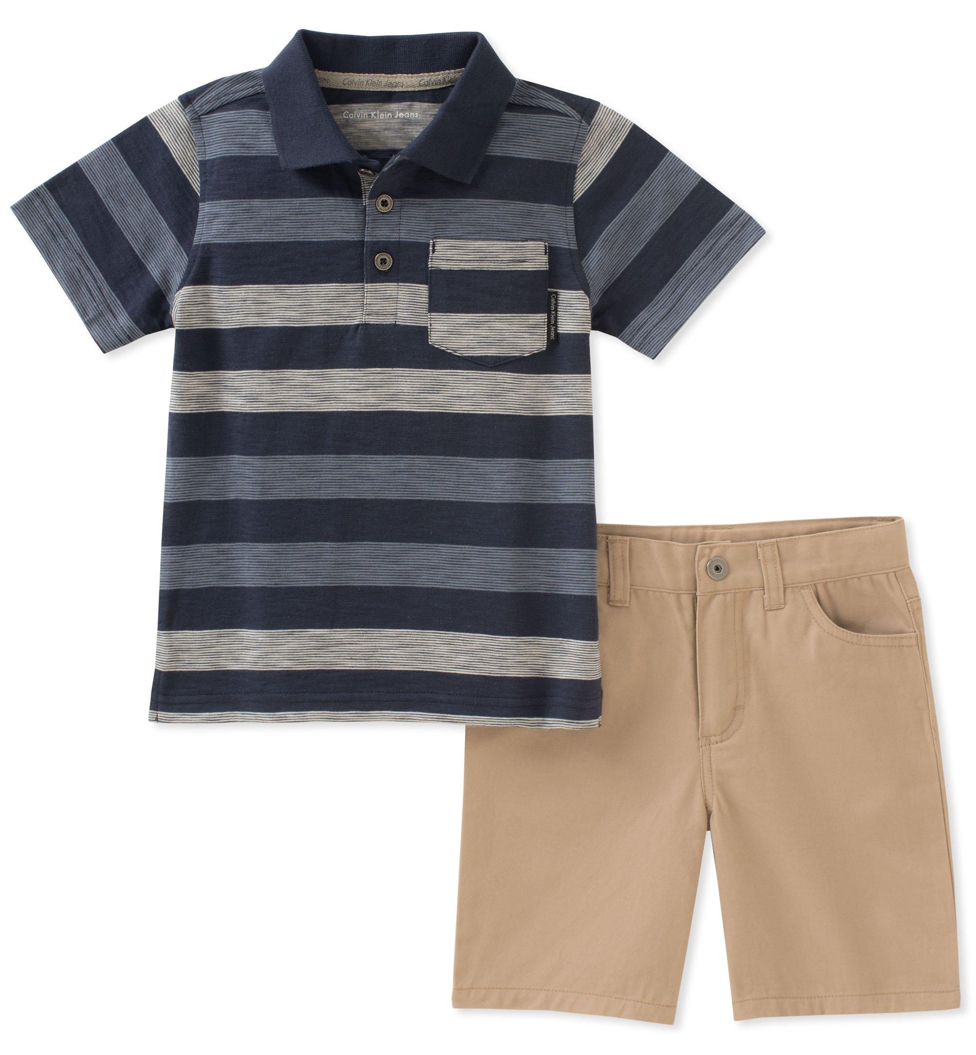 カルバンクライン男の子2つのPOLOシャツパンツスーツ