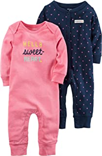 Carters Baby Girls Graphic Romper 9 Months - Coral Baby