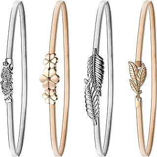 Bememo 4 Pieces Women Elastic Waist Belt Stretch Metal Dress Belt