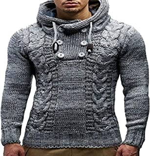 Men's Cowl Neck Chunky Pullover Sweater Cable Knit Winter Warm Hoodies