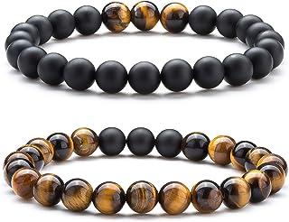 Bracciale pietra occhio di tigre, CNNIK Uomo Donna 8mm Perline Pietra Naturale Yoga Aromaterapia Olio essenziale bracciale...