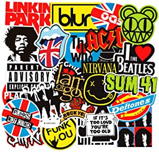 Band Stickers for Water Bottle[60pcs] Rock Roll Punk Music Vinyl Decals for Laptop Phone Hydro Flask Car Computer Guitar Piano Violin Drum Brass Skateboard Luggage PC Journal Bike Bumper Waterproof