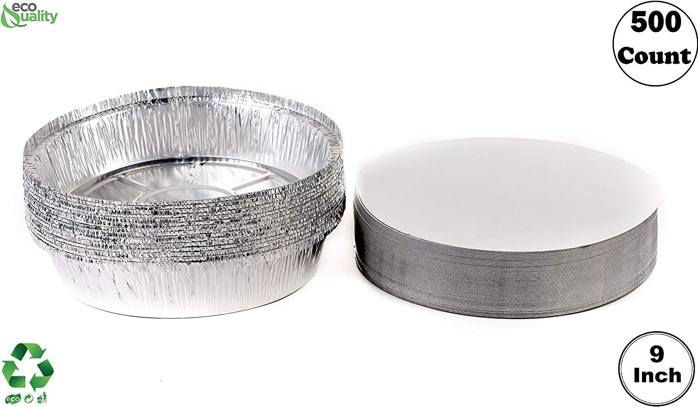 500 Pack 9 Inch Disposable Round Aluminum Foil Take Out Pans With Board Lids Set Disposable Tin Containers Perfect For Baking Cooking Catering Parties Restaurants By EcoQuality