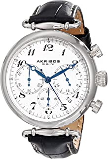 Akribos XXIV Women's Chronograph Watch - 3 Subdials Feature Seconds, Minutes and GMT On Embossed Alligator Pattern Leather Strap - AK630