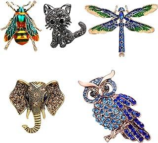 TsunNee Elephant Crystal Brosche, Hochzeit Party Kleidung Brosche, Strass Schal Pin, Kostüm Abzeichen, Bumble Bee Eule Katze Libelle Brosche, 5 Stück