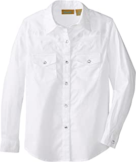 Wrangler Girls' Long Sleeve Two Flap Pockets Snap Front Shirt