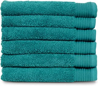 TowelSelections Organic Collection Luxury Towels – 100% Organic Turkish Cotton, Made in Turkey, Lagoon, 6 Hand Towels