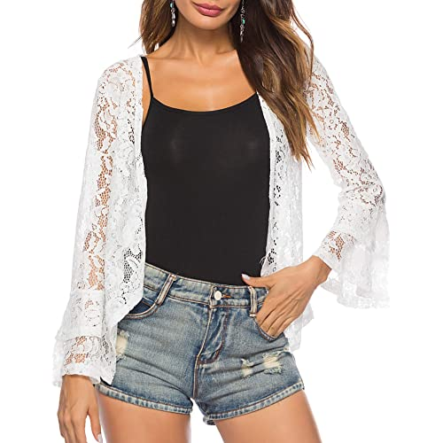 b1930b6d0e3996 Sheroin Women s Lace Bell Sleeve Cardigan Open Front Flare Shrug Jacket