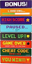 Blue Panda Video Game Sign Cutouts - 8-Pack Arcade Directional Signs Theme Party Decorations, Kids Birthday Party Favors on 350 GSM Cardstock Paper, 17 x 4 inches