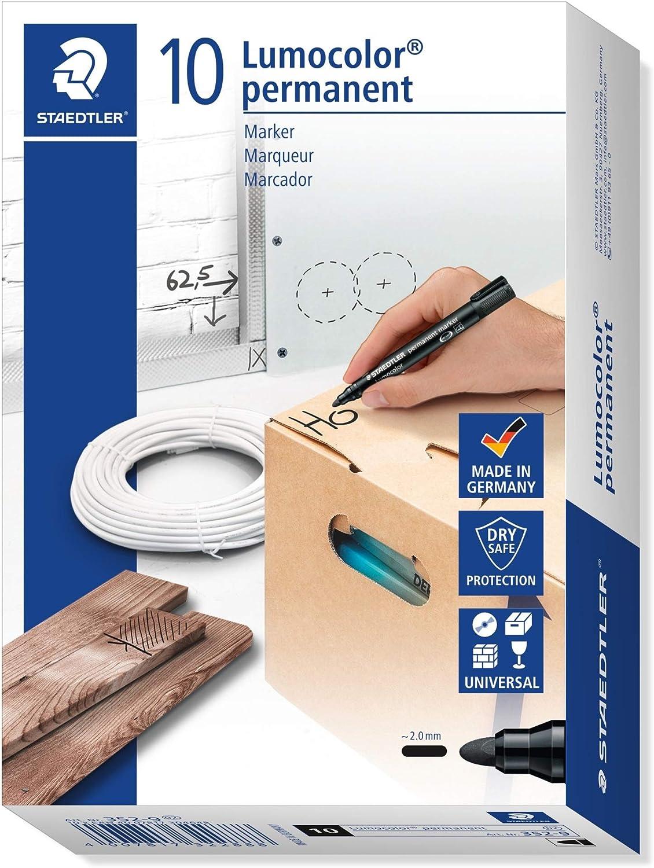 STAEDTLER 10 10 Lumocolor Marker permanent Rundspitze, 10 mm, 10 Stück,  schwarz