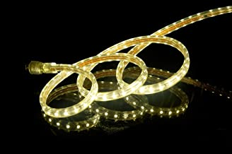 CBConcept UL Listed, 100 Feet,Super Bright 27000 Lumen, 3000K Warm White, Dimmable, 110-120V AC Flexible Flat LED Strip Rope Light, 1830 Units 5050 SMD LEDs, Indoor Outdoor Use, Ready to use