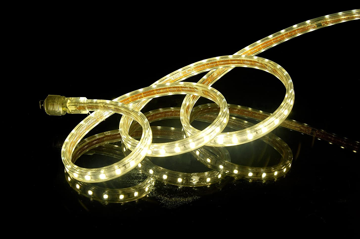 CBConcept UL Listed, 20 Feet,Super Bright 5400 Lumen, 3000K Warm White, Dimmable, 110-120V AC Flexible Flat LED Strip Rope Light, 360 Units 5050 SMD LEDs, Indoor/Outdoor Use, [Ready to use]