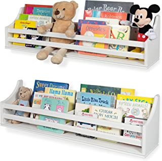 """Childrens Wood Wall Mounted Floating Shelf 30"""" Bookcase for White Nursery Décor Traditional Molding Style - Kid's Room Bookshelf Display – Books and Toy Organizer Storage – Ships Assembled (Set of 2)"""