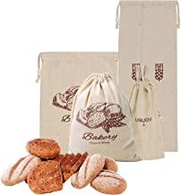 Linen Bread Bags for Homemade Bread, Pack of 5 Reusable Bread Bags, Natural Unbleached Reusable Linen Bags for Loaves, Baguettes Storage Bags, Ideal Organization Bags for Bakers (Bread Bag-2)