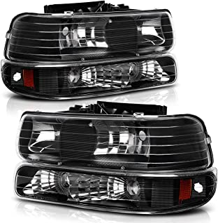 Headlight Assembly for 99-02 Chevy Silverado 1500 2500/01-02 Chevy Silverado 1500HD 2500HD 3500/00-06 Tahoe Suburban 1500 2500 Headlamp with Bumper Lights