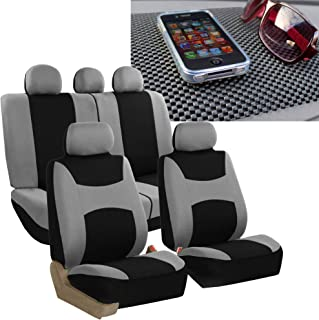 FH Group FH-FB030115 Light & Breezy Cloth Seat Cover Set Airbag & Split Ready, Gray/Black FH1002 Non-Slip Dash Grip Pad- Fit Most Car, Truck, SUV, or Van