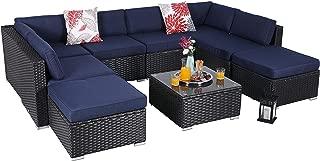PHI VILLA 9-Piece Patio Furniture Set Rattan Sectional Sofa with Tea Table and Ottoman, Blue