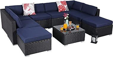 PHI VILLA Outdoor Sectional Furniture 9 Piece Patio Sofa Set Low-Back Rattan Wicker Conversation Set, Navy Blue