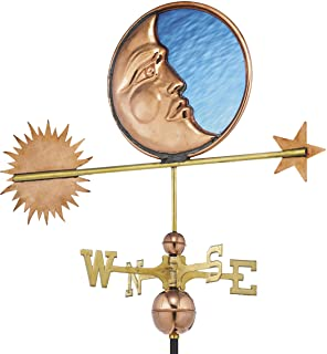 Good Directions Stained Glass Moon Weathervane, Pure Copper